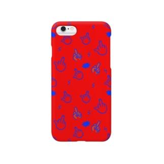F柄スマホケース(赤) Smartphone cases