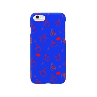 F柄スマホケース(青) Smartphone cases