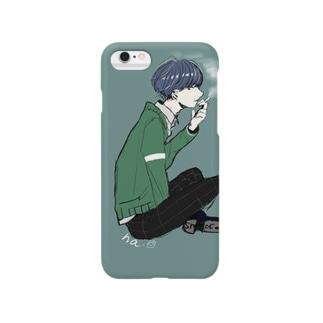タバコと緑のカーディガン Smartphone cases