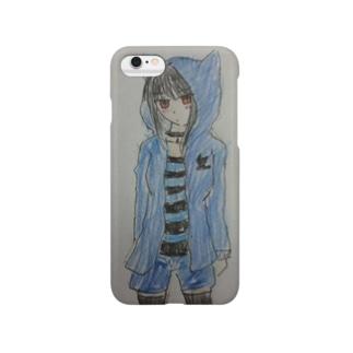 猫耳パーカー(青) Smartphone cases