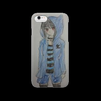 新月さんとこの猫耳パーカー(青) Smartphone cases