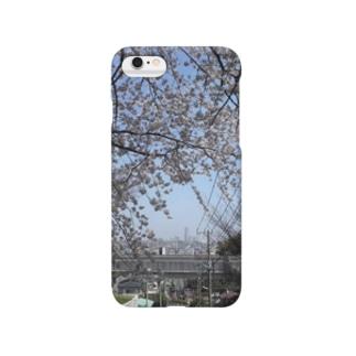 ランドマークと桜 Smartphone cases