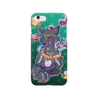 王子の狐(黒) Smartphone cases