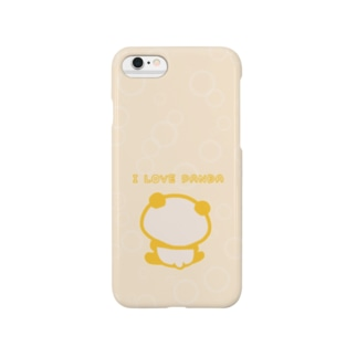 シャボン:I LOVE PANDA(ベージュ) Smartphone cases
