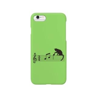 ネコ、音符にイタズラ (G) スマートフォンケース