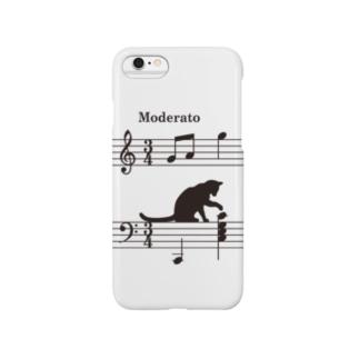 ネコ、音符にイタズラver.2 (W) Smartphone cases