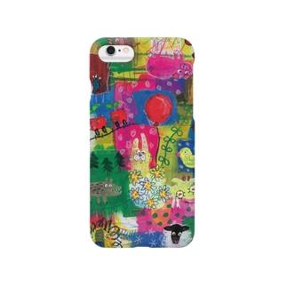 Colorful patchwork rabbit スマートフォンケース