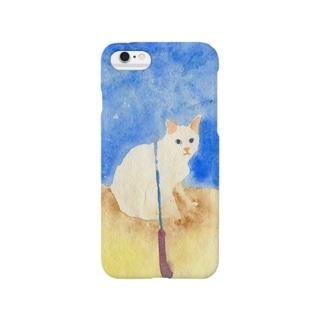白猫と青い傘 Smartphone cases