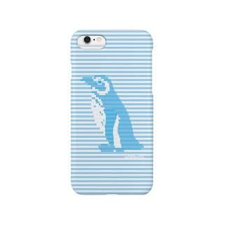 インビジブルボーダーペンギン:ブルー Smartphone cases