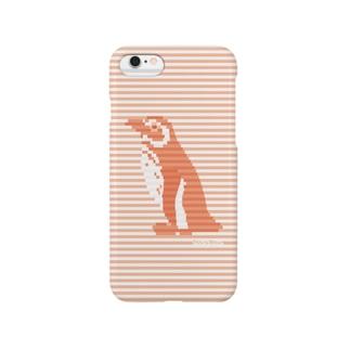 インビジブルボーダーペンギン:レッド Smartphone cases