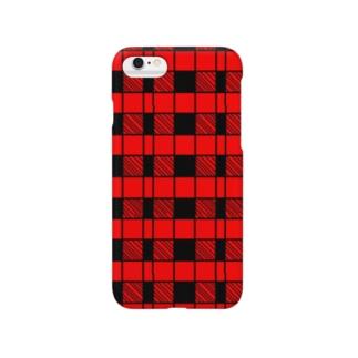 赤黒チェック Smartphone cases