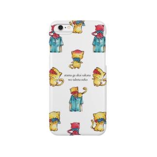 頭が赤い魚を食べた猫(集合) Smartphone cases