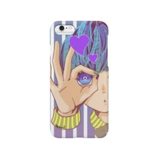 のぞいてみる?(紫) Smartphone cases