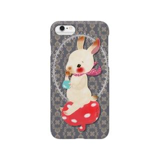 チョコビスとホットミルクの空飛ぶウサギ Smartphone cases