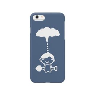 もくもくシャベルボーイ/雨雲ブルー Smartphone cases