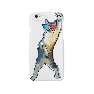 3Dメガネをかけた猫 Smartphone cases