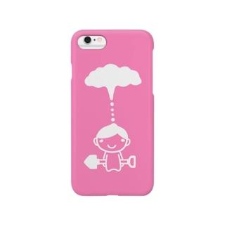 もくもくシャベルボーイ/キャンディーピンク Smartphone cases
