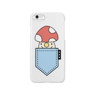 ポケットinきのこ(blue) Smartphone cases