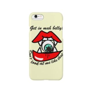 こっち見んな!食べちゃうゾ♡(イエロー) Smartphone cases