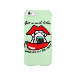 こっち見んな!食べちゃうゾ♡(グリーン) Smartphone cases