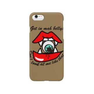 こっち見んな!食べちゃうゾ♡(チャコール) Smartphone cases
