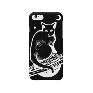 スペースキャット 黒×白線 Smartphone cases