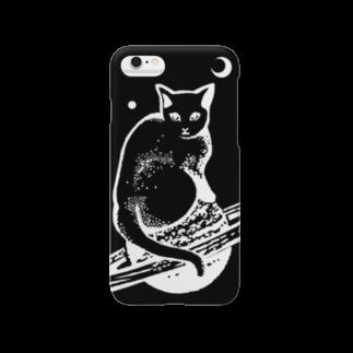 金星灯百貨店のスペースキャット 黒×白線 Smartphone cases