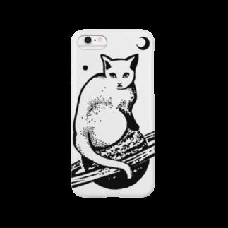 金星灯百貨店のスペースキャット 白×黒線 スマートフォンケース