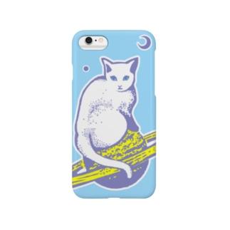 スペースキャット 水色×グレー線 Smartphone cases