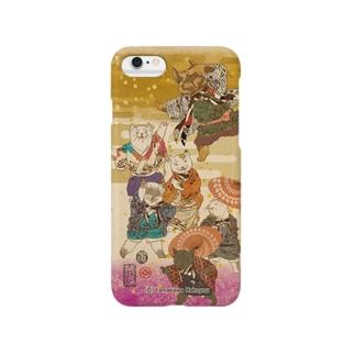 猫浮世絵シリーズ 猫一座 Smartphone cases