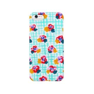さわやか小花柄チェック Smartphone cases