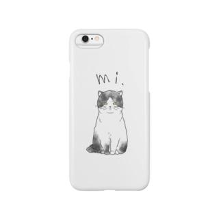 mi.catハチワレ(クロ) Smartphone cases