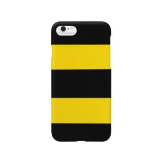 黄色と黒のシマシマ Smartphone cases
