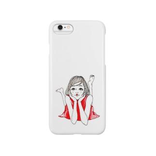 赤いワンピースの女の子 Smartphone cases