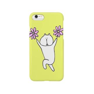 花を持ったネコ(キイロ) Smartphone cases