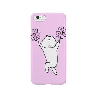 花を持ったネコ(ピンク) Smartphone cases