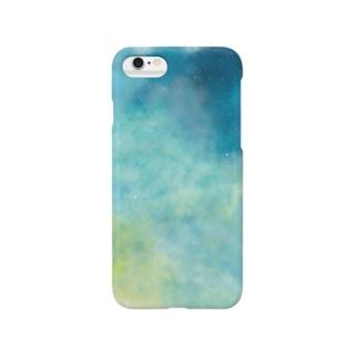 宇宙柄iPhoneケース(青黄色) Smartphone cases