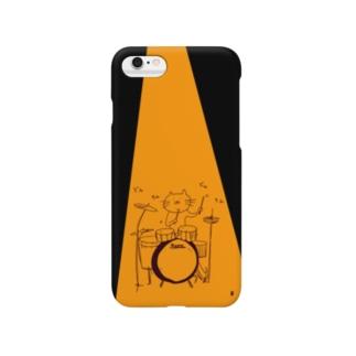 ドラムを叩く猫 Smartphone cases