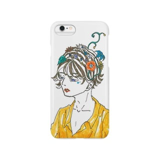 Flower blooms on the head. Smartphone cases