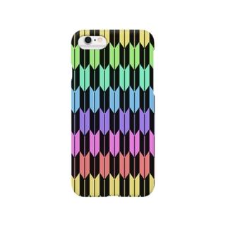 Yagasuri(Pastel Rainbow - Black) Smartphone cases