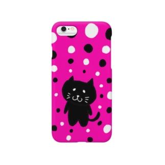 くろねこピンク白黒ドット Smartphone cases
