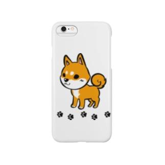 3柴犬足跡つき Smartphone cases