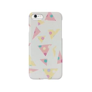 三角形ドット柄ふんわりカラー Smartphone cases