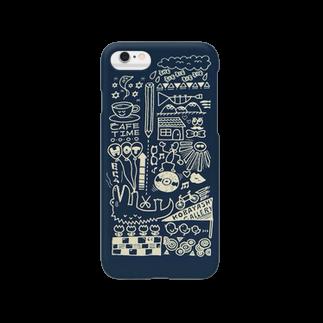 #コバヤシgalleryのラッパ吹きの休日(ネイビー) Smartphone cases
