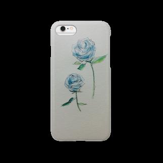 kana_lilyのブルーローズのiPhoneケース Smartphone cases