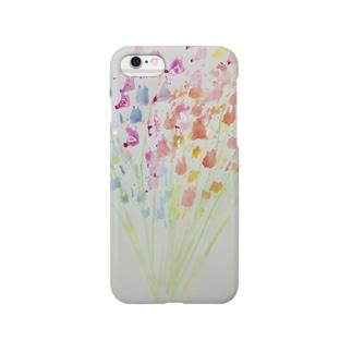 kana_lilyの色付きかすみ草のiPhoneケース Smartphone cases