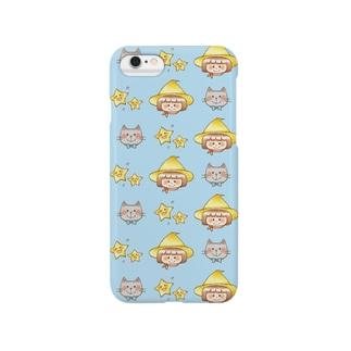 マジョ子さんと猫田さん(ブルー) Smartphone cases