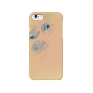 涙で滲む青いバラ Smartphone cases