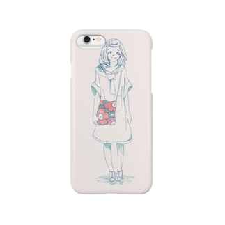 花柄バックの女の子 Smartphone cases