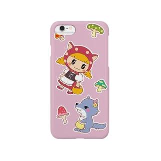 水玉ネコ耳ずきんちゃんとおおかみちゃん Smartphone cases
